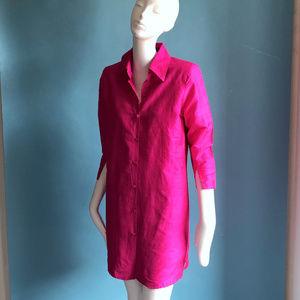 Fuchsia Pink Silk Shantung Shirt Dress sz S